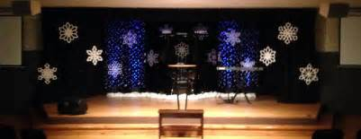 Stage Christmas Decorations Flakes A Falling Church Stage Design Ideas