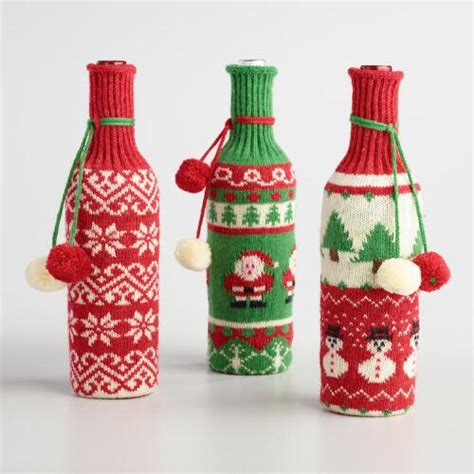 holiday sweater wine bottle covers set of 3 world market