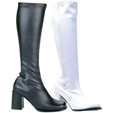 High Heels At11 Hitam 70 gogo boots womens chunky high heel shoes 60s 70s costume fancy dress ebay