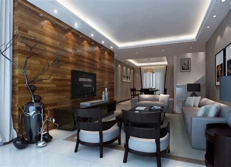 wood walls in living room wood tv wall and wood table for interior design 3d house