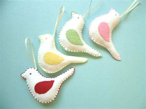 handmade felt ornaments set of 4 birds christmas