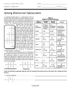 organic chemistry naming substituted hydrocarbons worksheet for 9th 12th grade lesson planet