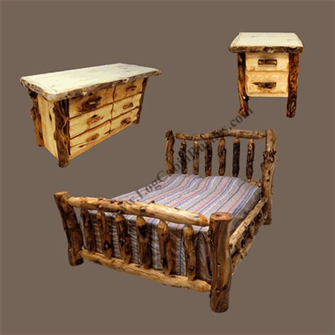 Log Furniture Bedroom Sets Grizzly Aspen Log Bedroom Set