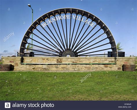 pits on wheels burnhope pit wheel sculpture stock photo royalty