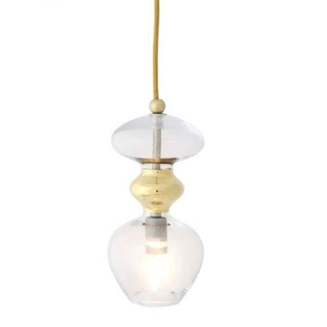 Small Pendant Lights Uk Small Clear And Gold Metallic Ceiling Light On Drop Suspension