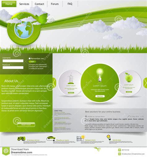 website layout template vector green eco website template stock vector image 46713742