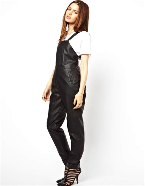 sale overall asos overalls in leather look in black lyst