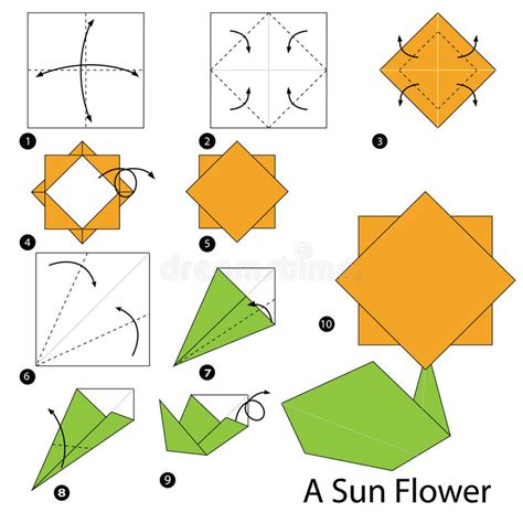 How To Make A Paper Sun - step by step how to make origami a sun flower