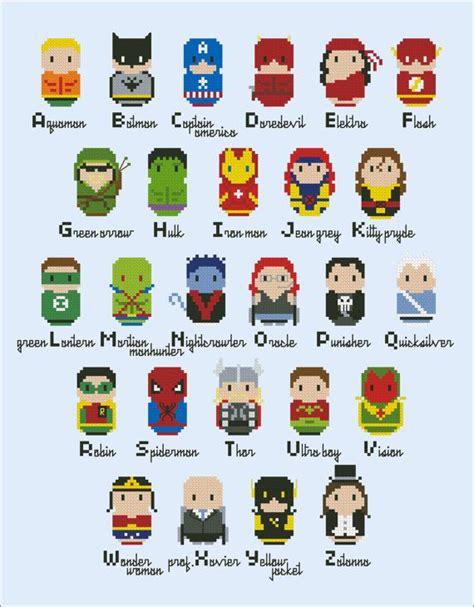 printable superhero alphabet flashcards superheroes parody alphabet sler cross stitch pdf