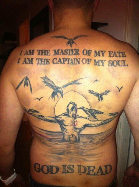 invictus poem tattoo i am the master of my fate poem on back