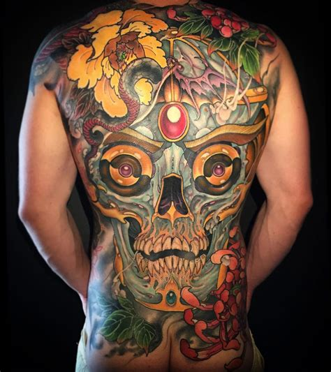 whole back tattoos back skull best design ideas