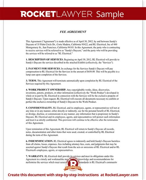 fee agreement template fee agreement form with sle