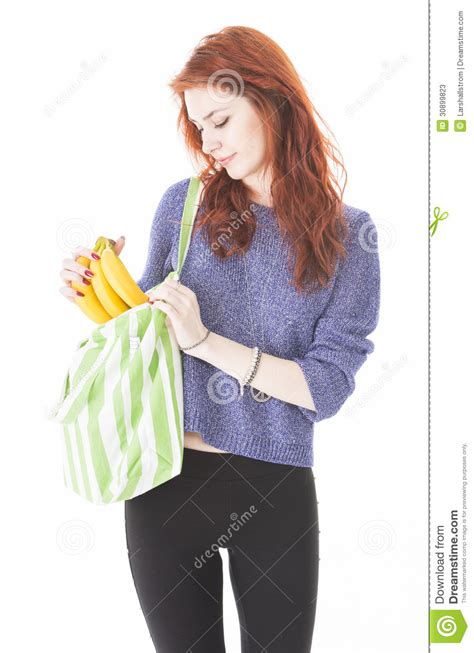 Put In The Bag happy put fruit in eco friendly cloth bag stock
