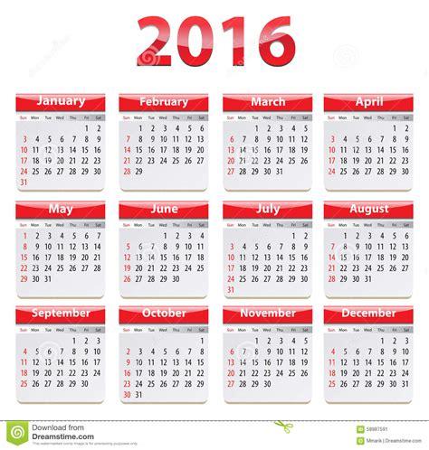english calendar 2016 design stock vector image 61777684 2016 english calendar stock vector image 58987591