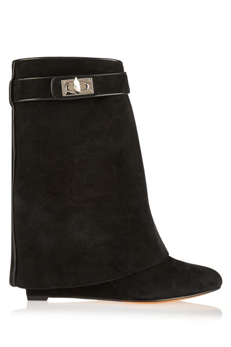 Kaos Givenchy Shark Black lyst givenchy shark lock black suede wedge ankle boots in black