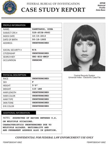 Image Gina Zanatakos Case Study Jpg The Blacklist Wiki Fandom Powered By Wikia Fbi Dossier Template