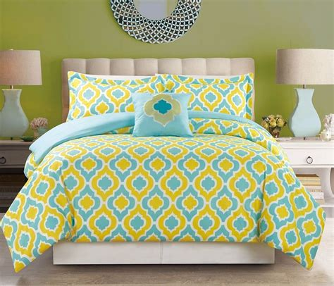 4 piece bedding turquoise blue yellow king size comforter
