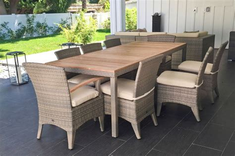 teak patio dining set teak outdoor dining table and wicker chairs home ideas