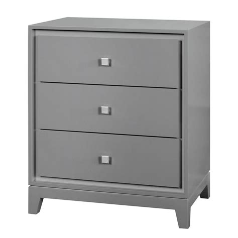 bungalow 5 bergamo 3 drawer side table gray
