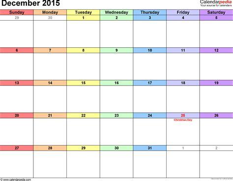 Calendar For Dec 2015 December 2015 Calendars For Word Excel Pdf