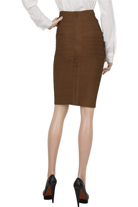 herv 233 l 233 ger high waisted bandage skirt in brown lyst