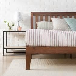 antique espresso solid wooden platform bed with headboard zinus