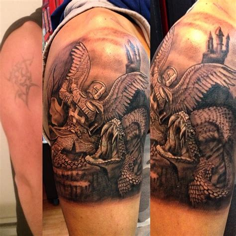 good vs bad tattoos black and grey vs evil done by artist