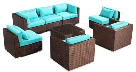 Turquoise Patio Furniture Modify It Outdoor Furniture Patio Sofa Sectional Molokai 8 Pc Set Turquoise Modern Outdoor