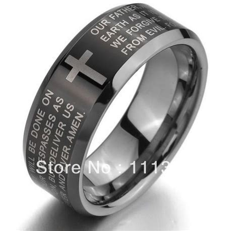 Black Titanium Christian Lord S Prayer Bible Cross Ring 58 best wedding band designs images on jewelry rings and wedding stuff
