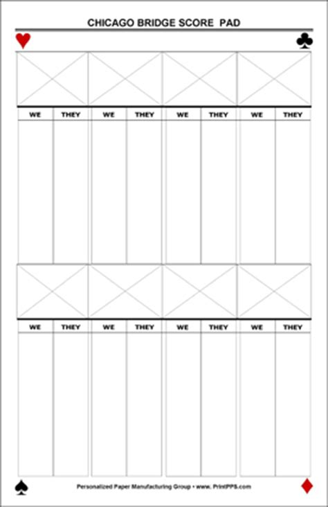 chicago bridge score cards templates chicago scoring in bridge