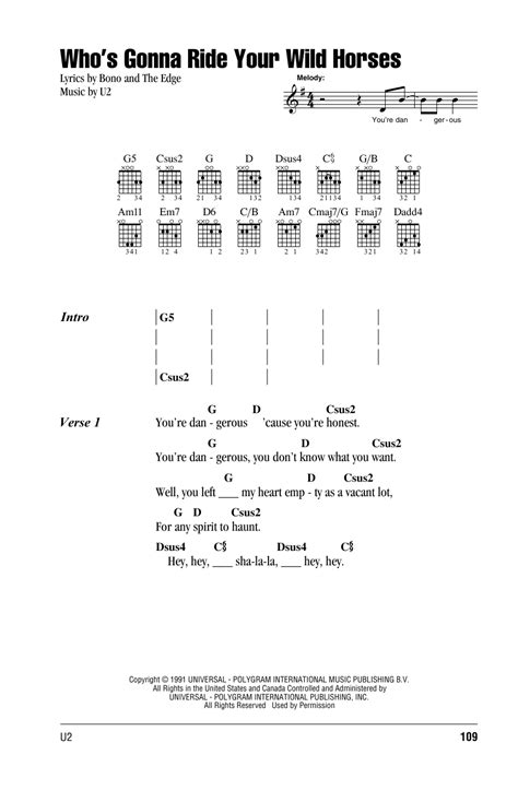 guitar tutorial wild horses who s gonna ride your wild horses by u2 guitar chords