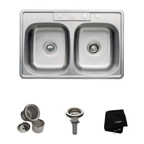 Kraus Stainless Steel Kitchen Sinks Kraus All In One Drop In Stainless Steel 33 In 4 Bowl Kitchen Sink Ktm33 The Home
