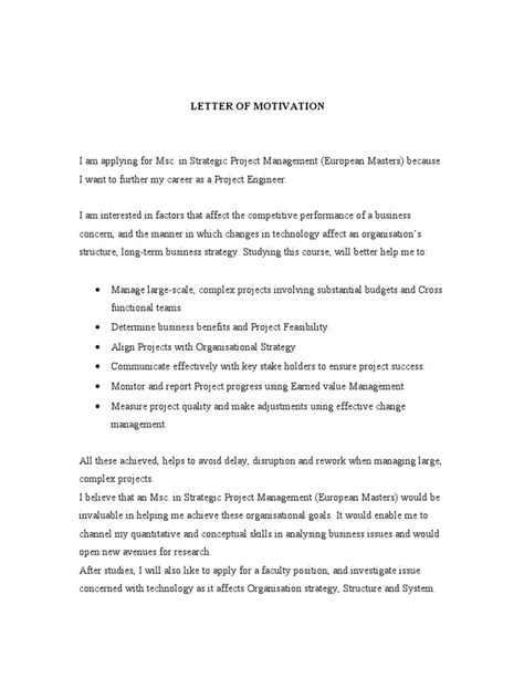 Scholarship Letter For Masters Degree sle of motivation letter for master degree scholarship
