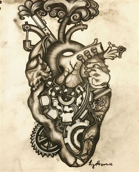mechanical heart tattoo mechanical anatomy and drawings