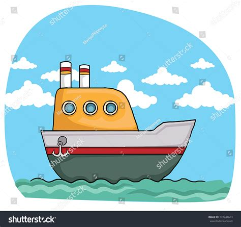 boat drawing cute cute colorful cartoon boat vector illustration stock