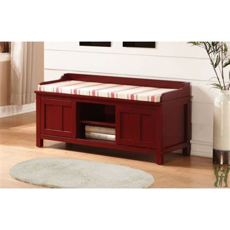 storage bench red linon 840212red01u lakeville red storage bench red striped cushion