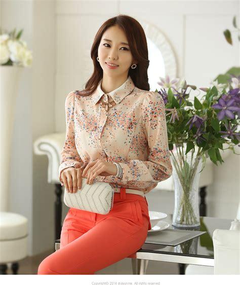 Q4 Kemeja Wanita Kemeja Sifon Murah Kemeja Kode E5472 1 kemeja wanita motif bunga cantik model terbaru jual murah import kerja