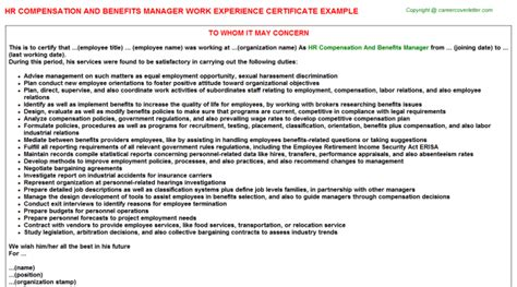 Compensation And Benefits Manager Cover Letter by How To Write A Letter To Hr Manager For Experience Letter Hr Compensation And Benefits Manager