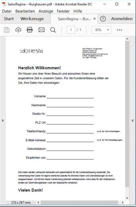 Mahnung Widersprechen Muster Friseur Programm Neukunde Kundenkarte Neukunden Formular