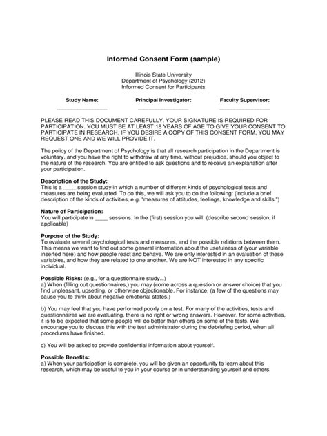 psychology consent form   templates   word