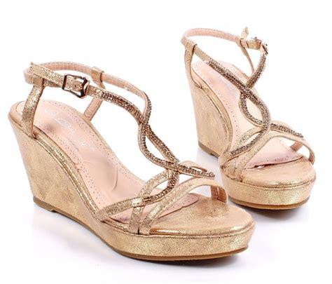 Dress Wedges gold crackle print wedges womens high heels sandals