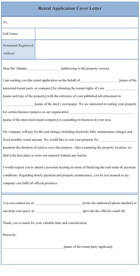 Cover Letter Template for Rental application, Format of