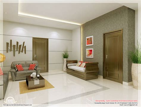 Living Room Interior by Awesome 3d Interior Renderings Kerala House Design