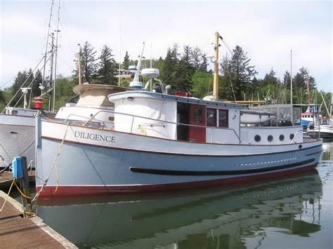 commercial fishing boat auction 1947 custom trawler classic wood yacht power boat for sale