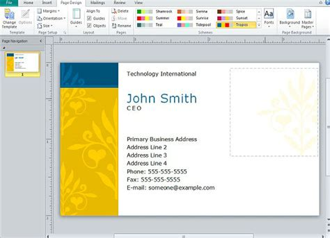business card presentation template creating business cards in microsoft publisher