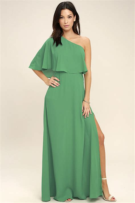 One Shoulder Maxi Dress lovely green dress one shoulder dress maxi dress 72 00