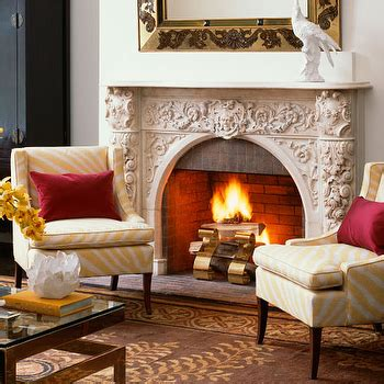 chairs in front of fireplace yellow accent table design ideas