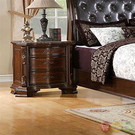 ornate bedroom furniture penbroke luxurious baroque brown cherry sleigh bedroom set