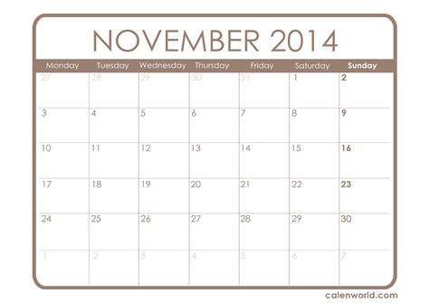 printable monthly calendar november 2014 november 2014 calendar printable calendars