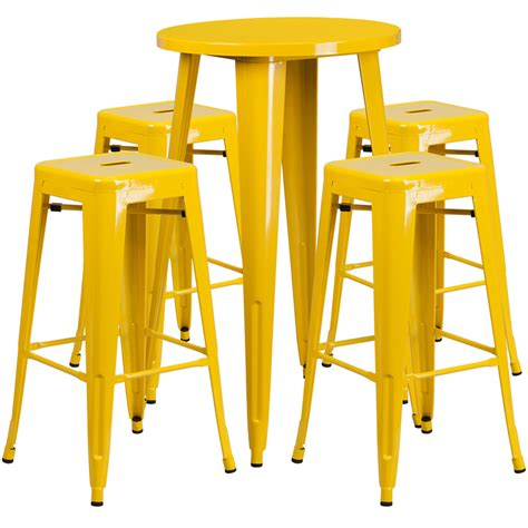 Yellow Bar Table 24 Yellow Metal Indoor Outdoor Bar Table Set With 4 Square Seat Backless Stools Ch